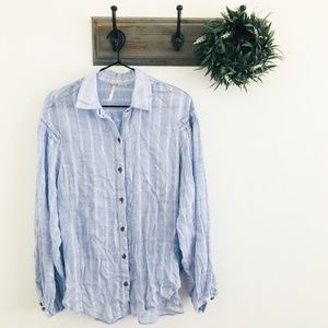 Free People Blue Ruffle Shoulder Button Down S